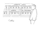 Man looking at greeting cards; one of the sections of cards he sees reads … - Cartoon
