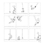 Mother takes child to a swing In succeeding frames he gets older  and at … - New Yorker Cartoon