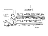 man at magazine section of bookstore; titles:  Parenting  Fathering  Mothe… - Cartoon