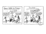 two panels showing differences between the past and now when a child decla… - Cartoon