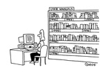 Behind a woman working at a computer is a bookshelf full of manuals; each … - Cartoon
