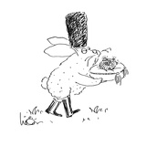 Russian Easter Bunny  carrying bejeweled Faberge Easter egg on cushion - Cartoon