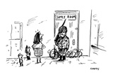 teachers' supply room is guarded by armed soldier - Cartoon