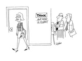 Sign on office wall said  'Think' but angry Female employee added; '   … - Cartoon