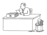 Man sitting at desk with 'In' box on desk and 'Out' box in trash - Cartoon