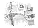 Young suave attorney  cross-examining older  heavy man  fancies himself as… - Cartoon
