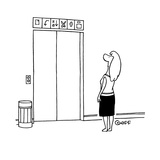 Women stands in front of elevator looking up at the signs trying to deciph… - Cartoon