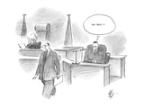 defendant who has just been questioned in court thinks slyly 'They bought … - Cartoon