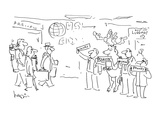 Raindeer waiting at airport holding 'Claus' sign with other drivers - Cartoon
