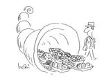 Man observes cornucopia with Plastic-wrapped fruits - Cartoon