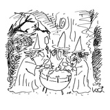 Three witches beating on a 'kettle' drum - Cartoon