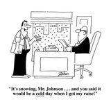 """""""It's snowing  Mr Johnson    and you said it would be a cold day when …"""" - Cartoon"""
