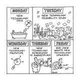 Different phases of technology from Monday through Friday; begins with New… - Cartoon