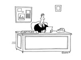 Man sitting at desk reading a letter; on his desk there a sign that reads … - Cartoon