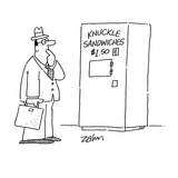 Man stares at vending machine selling  'Knuckle Sandwiches $150' - Cartoon