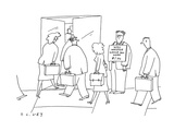 Man stands on the sidewalk with a sign around his neck that reads 'Will wh… - Cartoon