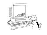 Dog plays with computer:  knocks over the Macintosh trash container - Cartoon