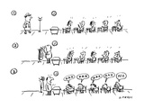three panels:  students talking as teacher arrives  and also when he takes… - Cartoon