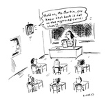 Hold on  Ms Martin  you know that book is not on the approved curriculum!… - Cartoon
