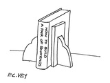 "Book  entitled ""How to build A Pair of Bookends""  held up by a pair of boo… - Cartoon"