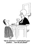 """Never mind how I would plead in your position    how do you plead"" - Cartoon"