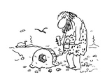 Caveman with tools in his hand stares at his wheel that somehow has gotten… - Cartoon