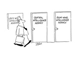 Door signs: Left Wing Intelligence Agency  Central Intelligence Agency  Ri… - Cartoon
