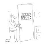 Man opens door with sign that reads 'Caution Power Ties' - Cartoon