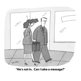 """He's not in  Can I take a message"" - Cartoon"