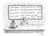 A fast food employee stands in front of a menu that shows satan-related fo… - New Yorker Cartoon