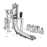 Executioner is about to chop off man's head with guillotine; when the pris… - New Yorker Cartoon