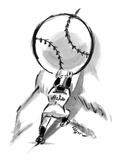 A Mets player pushes a giant baseball up a mountain  - New Yorker Cartoon