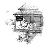 Old man and dog sitting sedately on porch with beach in distance  A sign … - New Yorker Cartoon
