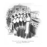 """""""Now  girls  after me Boo-ya-bes  a mixed fish stew Boo-ya-bes  a mixed"""" - New Yorker Cartoon"""