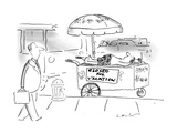 "Sidewalk hot dog vendor on street corner has sign on his cart ""CLOSED FOR … - New Yorker Cartoon"