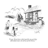 """""""It says  'If you know what's good for you  get those Adirondack chairs th…"""" - New Yorker Cartoon"""