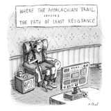 """The Crossroads of THE APPALACHIAN TRAIL and THE PATH OF LEAST RESISTANCE"" - New Yorker Cartoon"