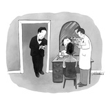 Man in tuxedo waiting for date to finish getting her Botox injection - New Yorker Cartoon