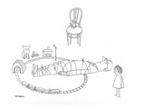 Little girl has tied her father to the railroad tracks of a toy train set - New Yorker Cartoon
