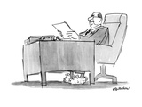 Businessman at desk wearing bunny slippers - New Yorker Cartoon