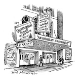 "A theater marquee advertises a show called ""Uncorrected Proof: The Musical"" - New Yorker Cartoon"