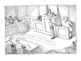 Defendant to lawyer  'If she sings  it's all over'  They are sitting in a… - New Yorker Cartoon