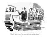 """We also have urns  if you want to think outside the box"" - New Yorker Cartoon"