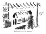 """Books by men are in the basement"" - New Yorker Cartoon"