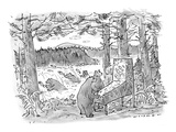 Two bears play a salmon-run-themed pinball machine outdoors in the woods  … - New Yorker Cartoon