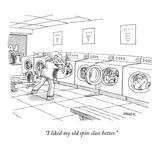 """I like my old spin class better"" - New Yorker Cartoon"