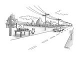 Pig selling truffels on roadside - New Yorker Cartoon