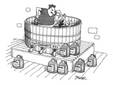 Man is crushing grapes in a vat with his feet; at the foot of the vat are … - New Yorker Cartoon
