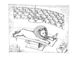 Operating theater where mouse is removing thorn from Lion's foot - New Yorker Cartoon