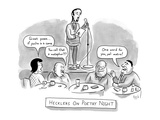 """An audience heckles a poet who is reading his work on stage: they say """"Gre… - New Yorker Cartoon"""
